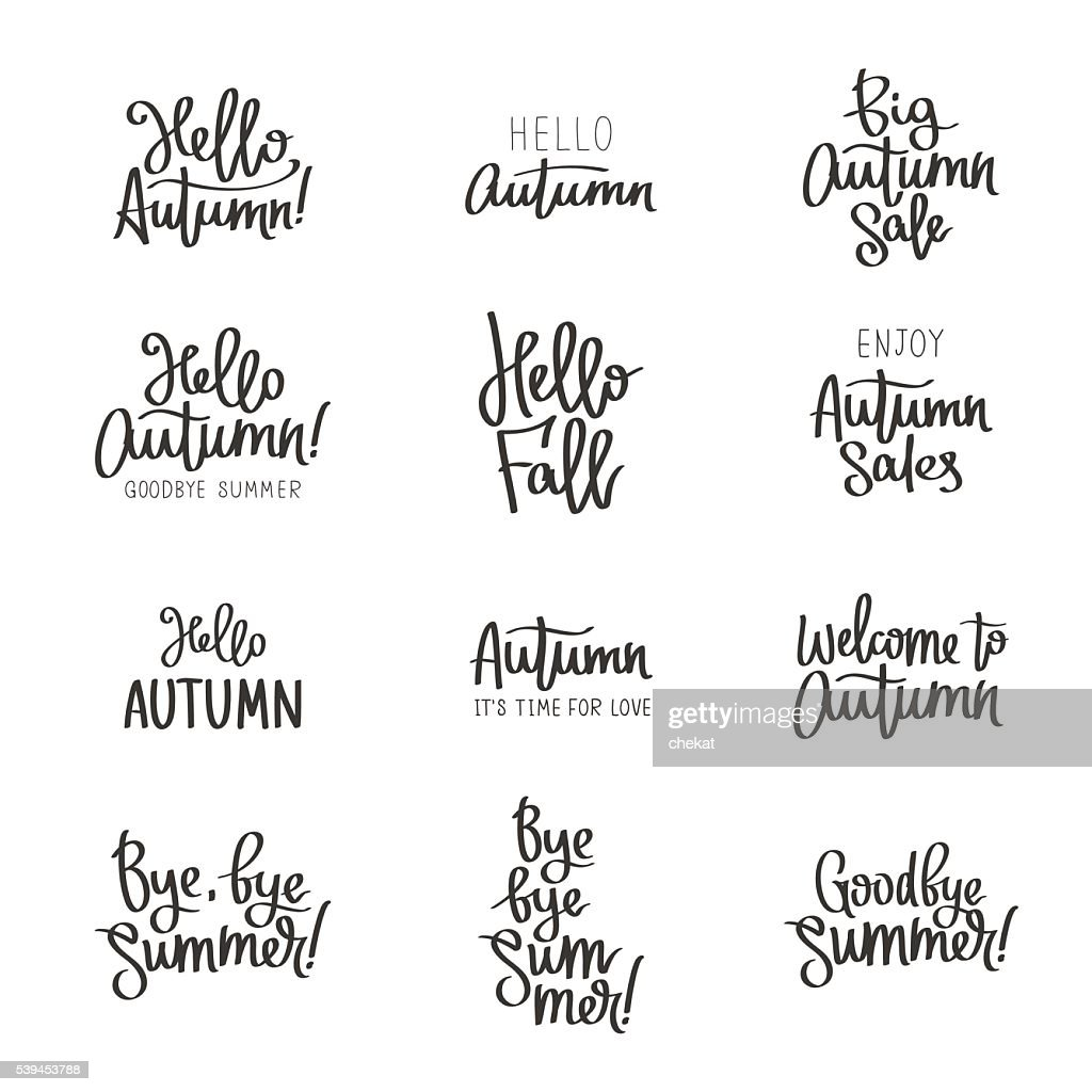 Set of different labels about the autumn.