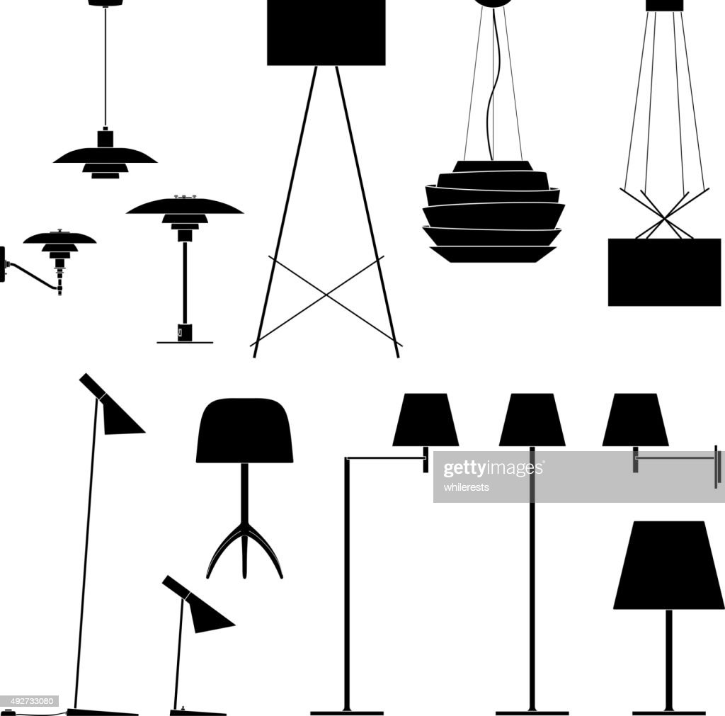 Set of different lamps. Black silhouette floor, table and sconce