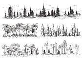 set of different landscapes with trees