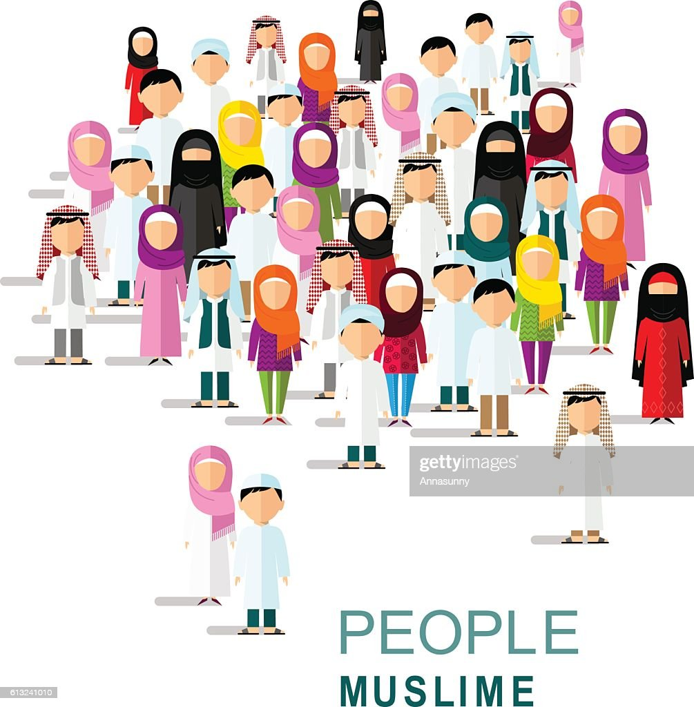 Set of different muslim people in flat style.