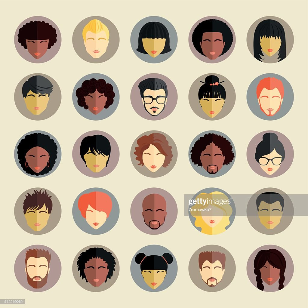 Set of different nationality people icons in flat style