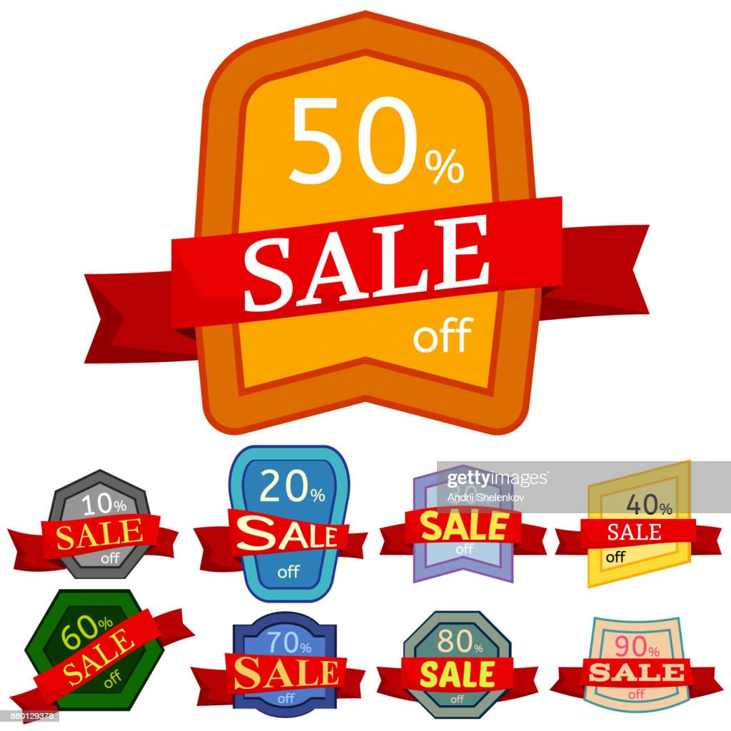 Set of different nine discount stickers