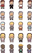Set of different pixel people