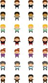 Set of different pixel people with cute design