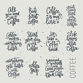 Set of different quotes about coffee