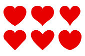 Set of different red hearts icon - stock vector