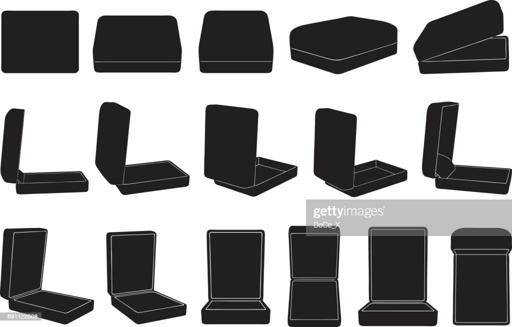 Set of different ring boxes