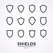 Set of different shields, templates for design of signs