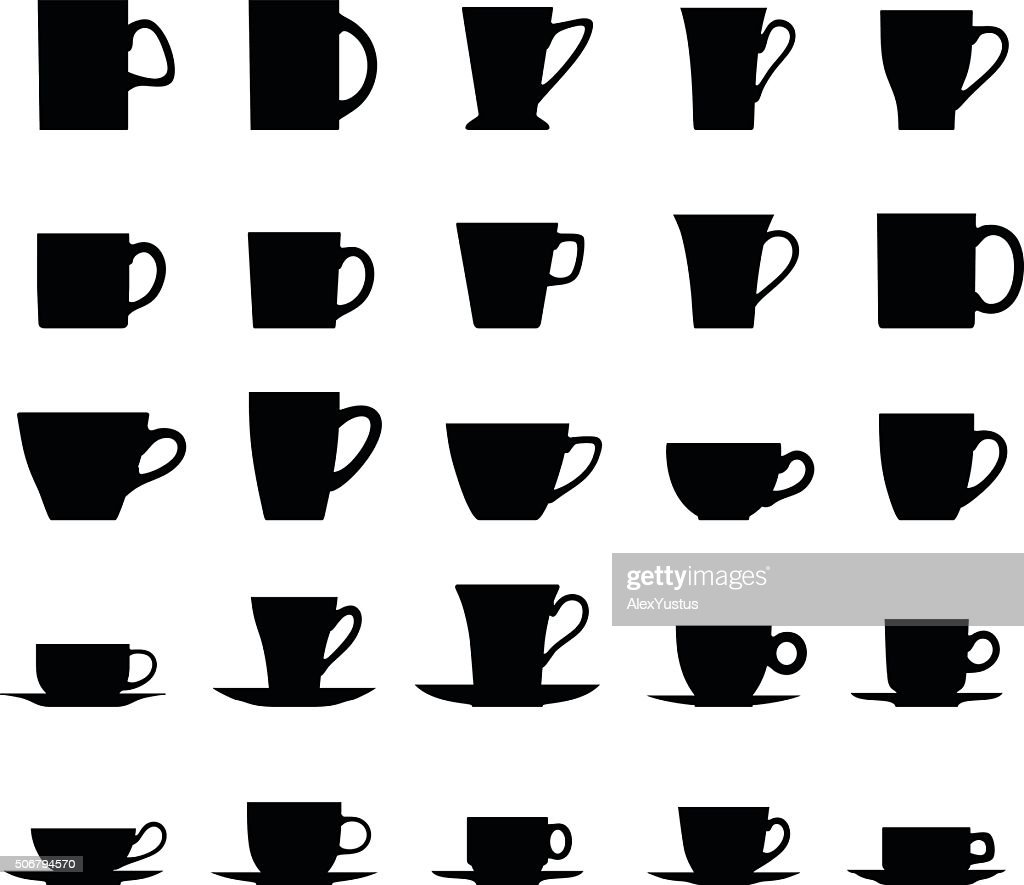 Set of different silhouettes tea cups isolated on white background.