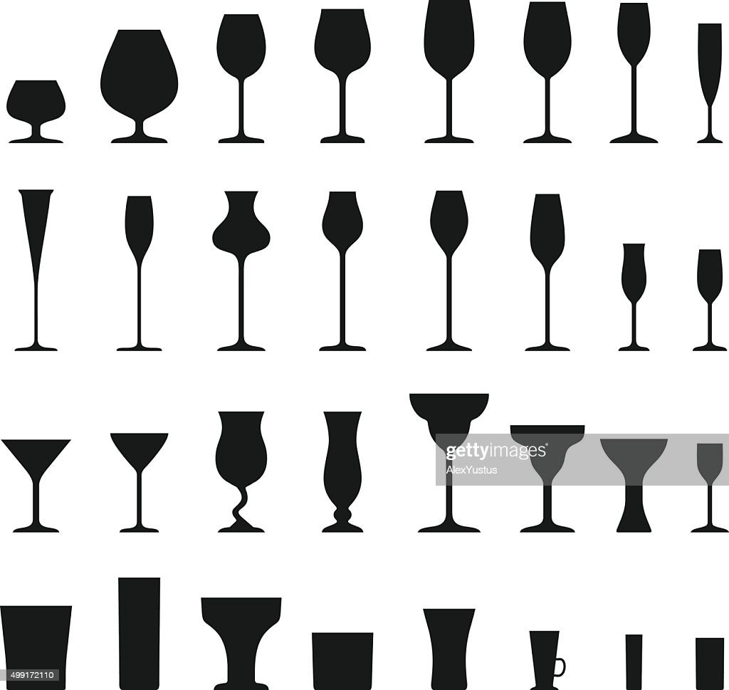 Set of different silhouettes wine glasses isolated on white background.