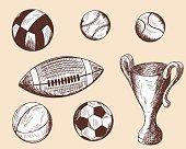 Set of different sketch balls