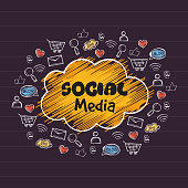 Set of different social media icons.