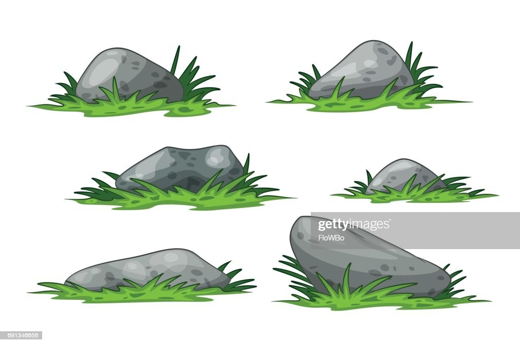 Set of different some cartoon stones with grass