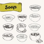 set of different soups national cuisine