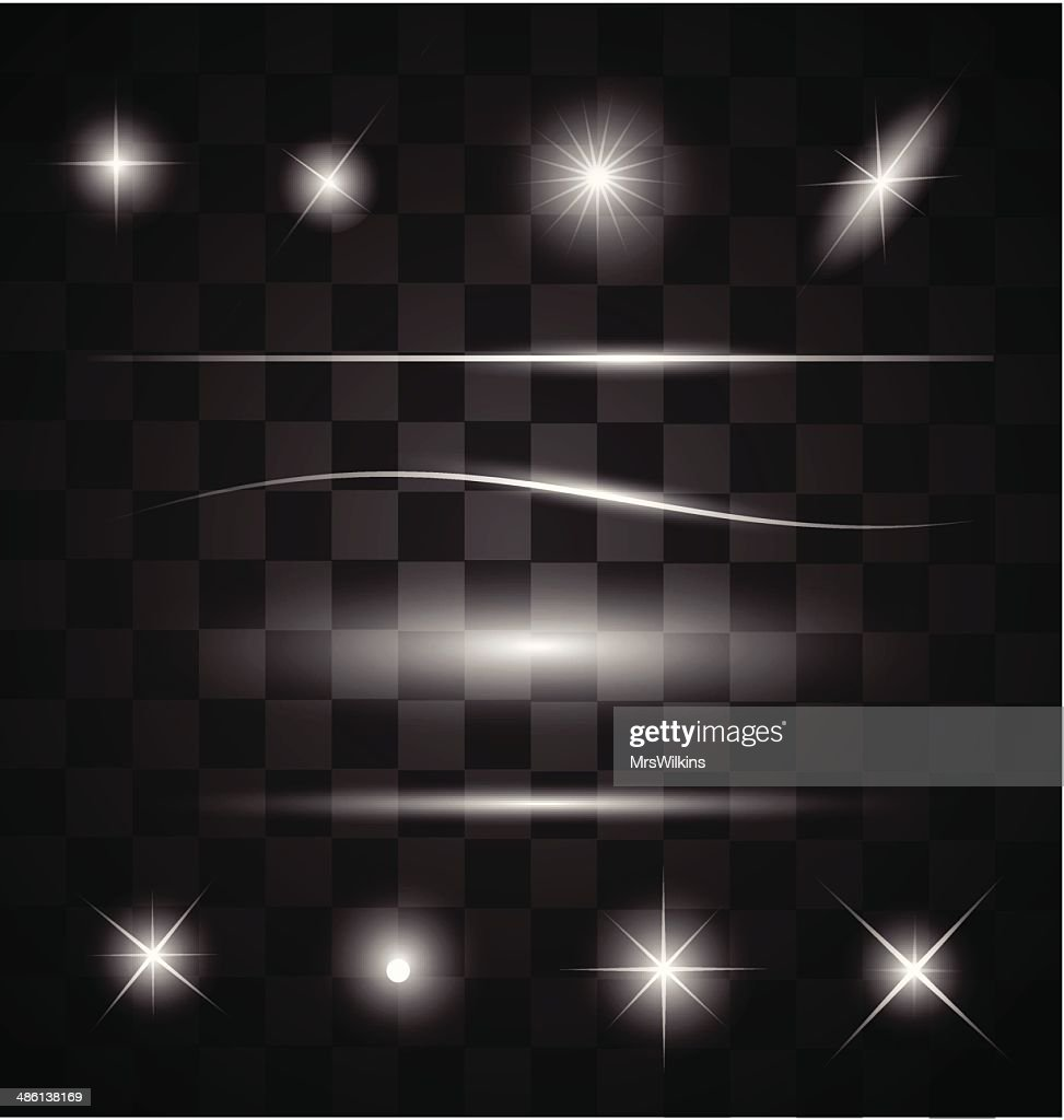 Set of different sparkling white light effects vector