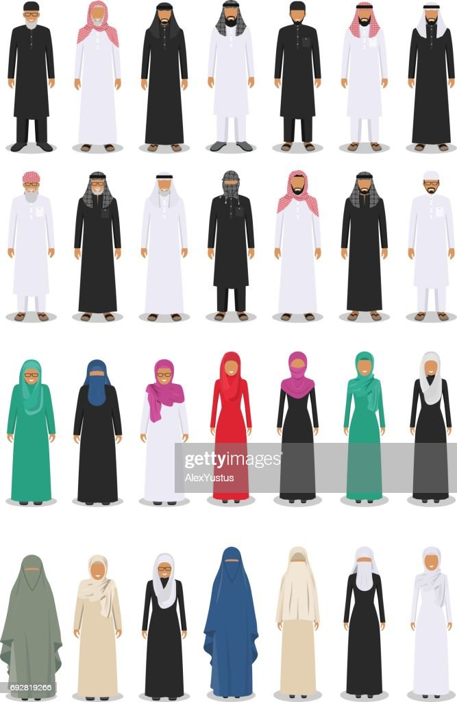 Set of different standing arab adult and old people in the traditional muslim arabic clothing isolated on white background in flat style. Vector illustration