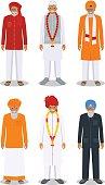 Set of different standing indian old men. Vector illustration.