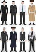 Set of different standing jewish old men. Vector illustration.