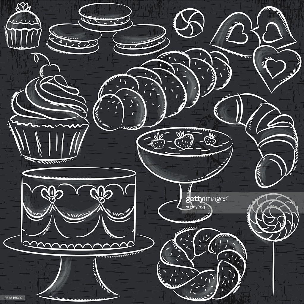 set of different sweetmeats on blackboard, vector