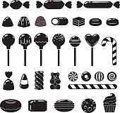 Set of different sweets. Assorted candies