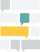 Set of different text boxes in gray, yellow and blue