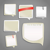 Set of different types of paper stickers