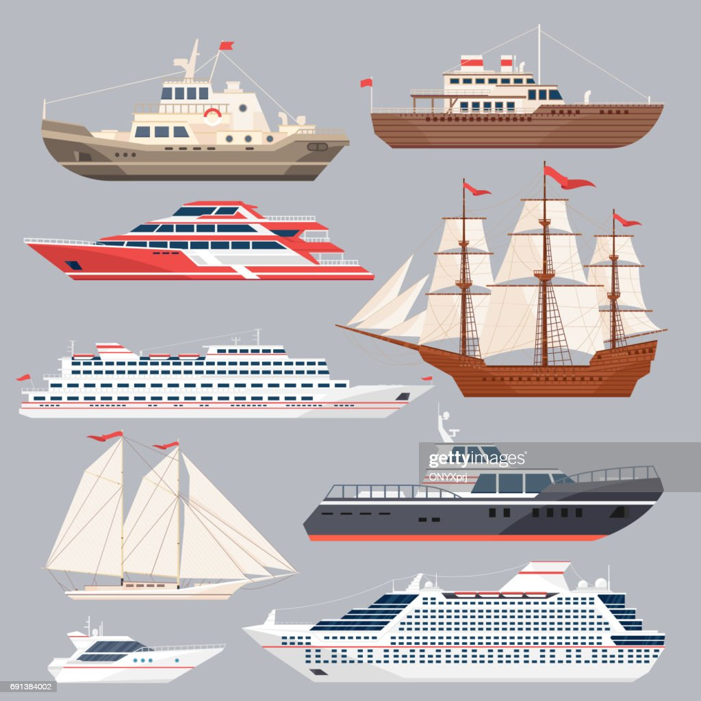 Set of different vessels. Sea boats and other big ships. Vector illustrations in flat style