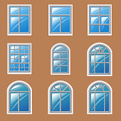 Set of different windows, element for architecture, vector, illustration, isolated