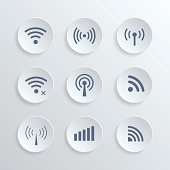 set of different  wireless 3d buttons and wifi icons