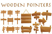 Set of different wooden empty cartoon pointers, hovering guides, signboards, signposts, planks, showing different destinations isolated flat vector illustration.