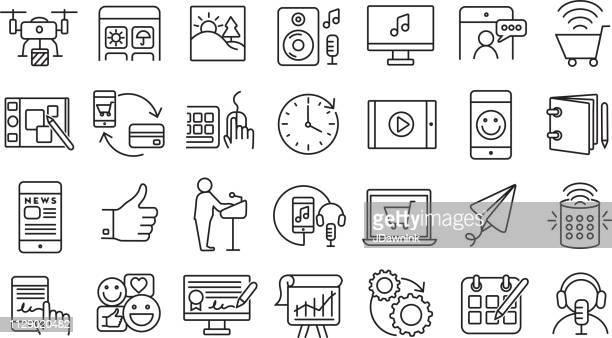 set of digital icons  flat simple outline line art design icon large set - live streaming stock illustrations