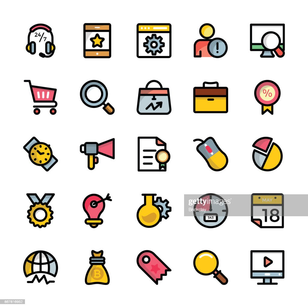 Set of Digital Marketing Flat Outlined Icons