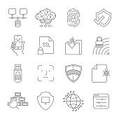 Set of Digital Technology related vector line icons. Contains such icons as Cloud Hosting, Control Panel, Face Recognition, Traffic, Analysis Network, Digital Protection and more. Editable Stroke. E