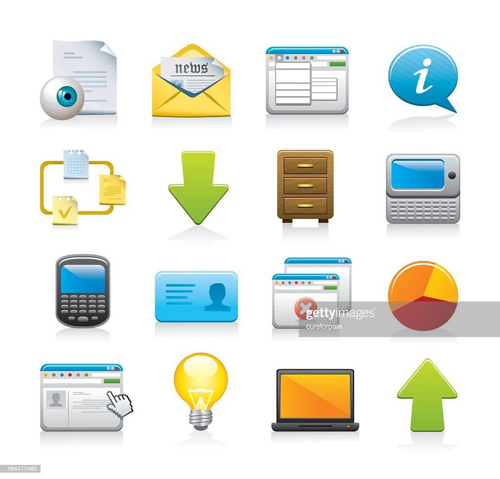 Set of digital web icons on white background