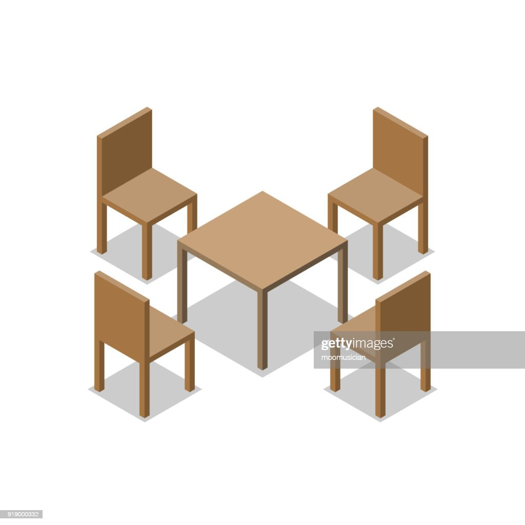 Set of Dining or Cafe Wooden Furniture, Four Chairs with Table. Isometric Drawing Vector.