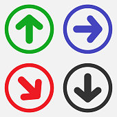 Set of direction arrows in circle. Vector icons