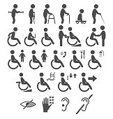 Set of disability people pictograms flat icons isolated on white