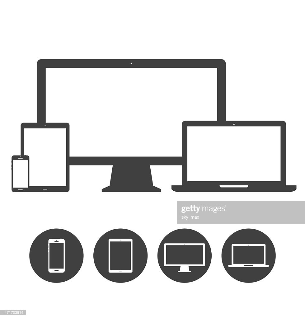 Set of display, laptop, tablet and mobile phones electronic device