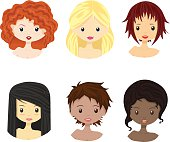Set of diverse female woman girl avatars isolated.