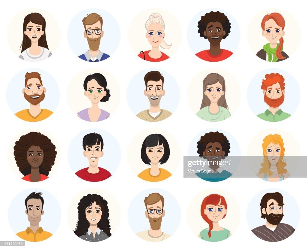 Set of diverse round avatars on white background