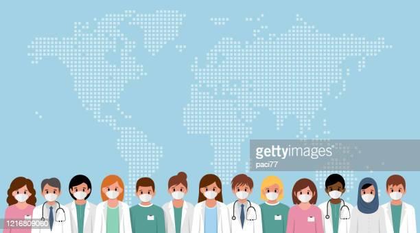 ilustraciones, imágenes clip art, dibujos animados e iconos de stock de conjunto de médicos y personal médico con máscara médica. detenga el concepto de coronavirus. - trabajador sanitario