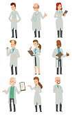 Set of doctors men and women
