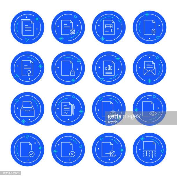 set of documents related line icons. editable stroke. simple outline icons. - representing stock illustrations