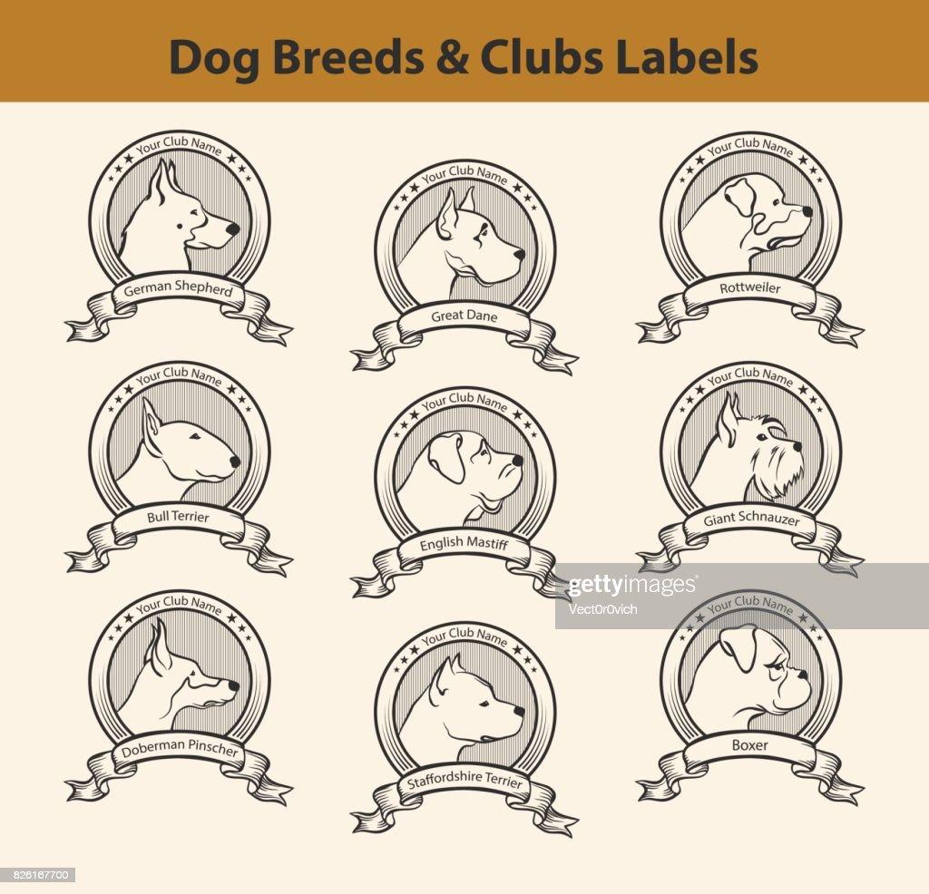 Set of Dog Breeds Labels, Dog Clubs Emblems. Profile SIlhouette Dog Faces Badges.