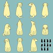 Set of dog sitting poses