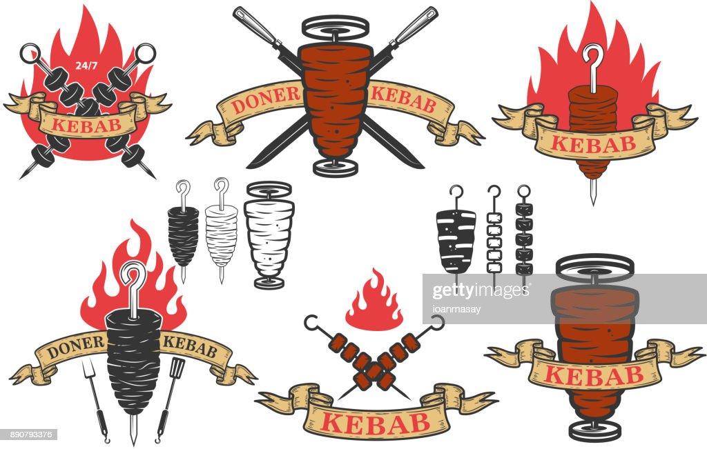 Set of doner kebab emblems.Design elements for label, emblem, sign. Vector illustration