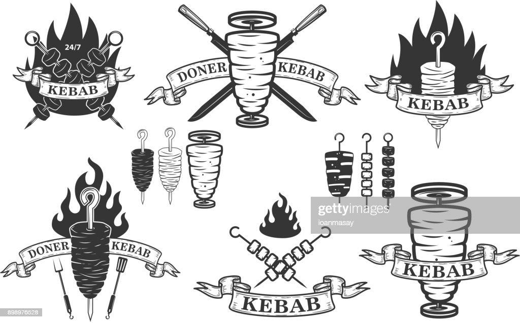 Set of doner kebab emblems.Design elements for label, emblem, sign.
