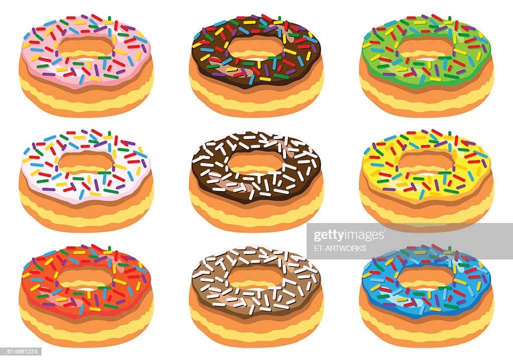 Set of donuts : stock illustration