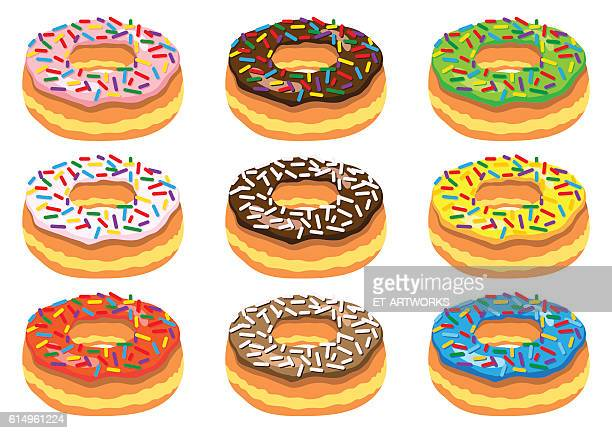 set of donuts - donut stock illustrations, clip art, cartoons, & icons