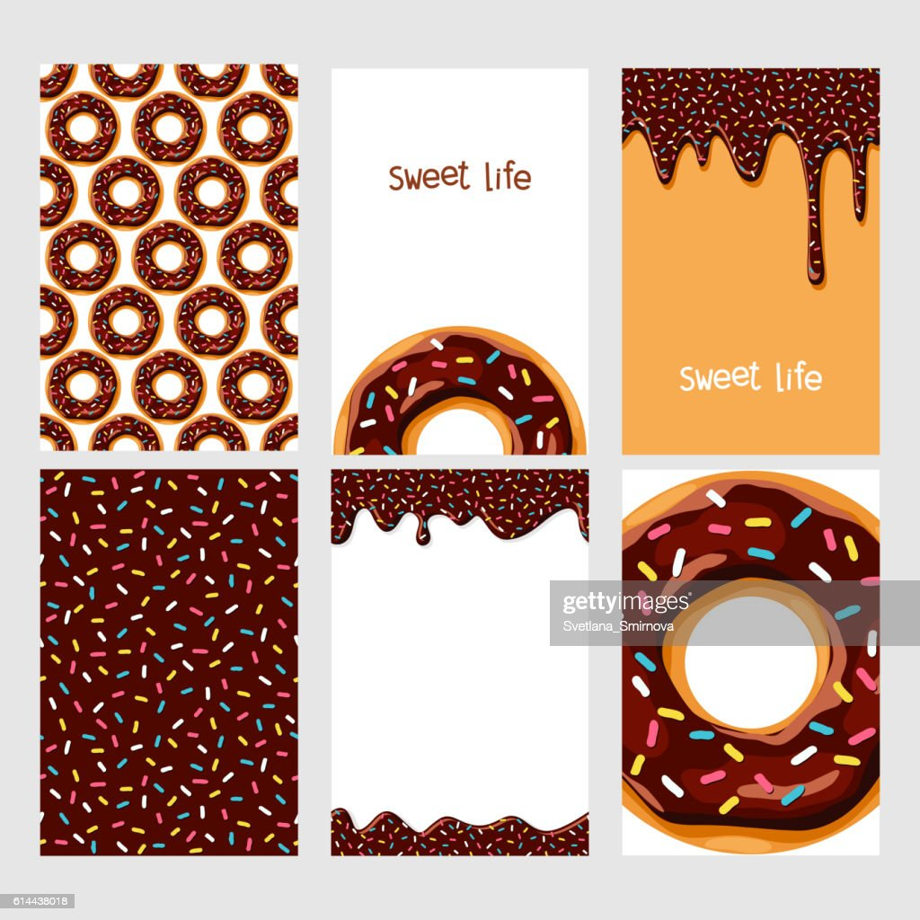 Set of donuts with chocolate glaze